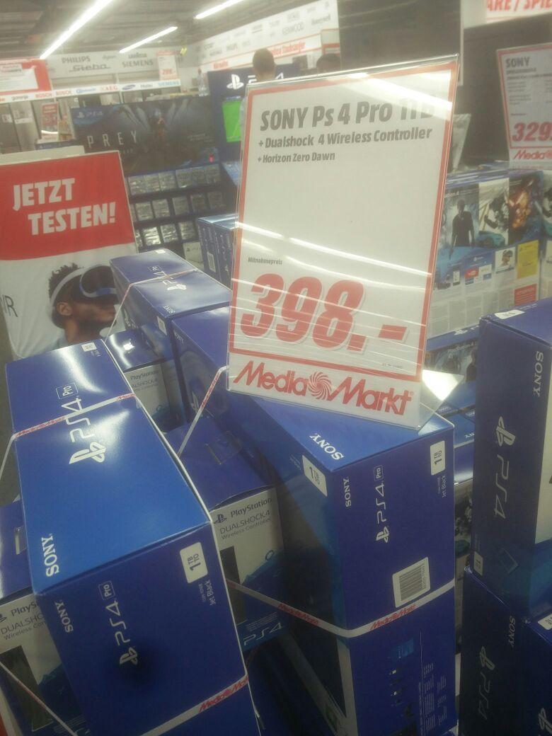 [Lokal Mediamarkt Siegen]  PlayStation 4 (PS4) Pro 1TB + 2. Controller + Horizon Zero Dawn für 398,-€