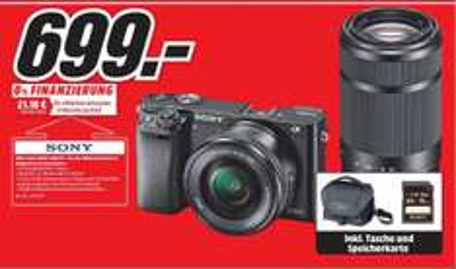 [MediaMarkt Regensburg, Neutraubling] Sony Alpha A6000 inkl. Objektive 16-50 mm & 55-210 mm + 16 GB SD Card + Tasche
