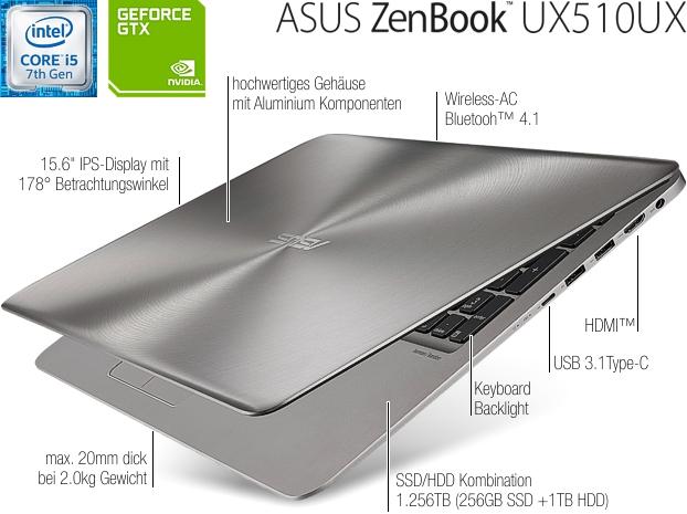 "ASUS Education UX510UX-CN180D - 15,6"" FHD + i5 7200U + 8GB Ram + 256GB SSD + 1TB HDD  + Geforce 950M 2GB"
