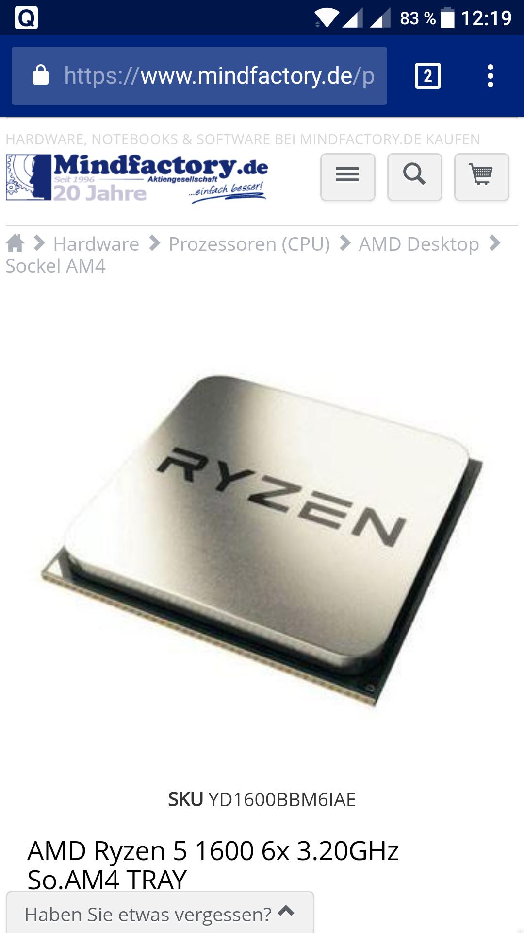AMD Ryzen 5 1600  6x 3,2 GHz Tray bei mindfactory (über mindstar)