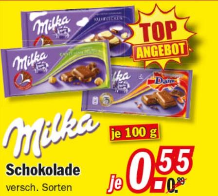 [Zimmermann] Milka Schokolade 100g Tafel für 0,55€
