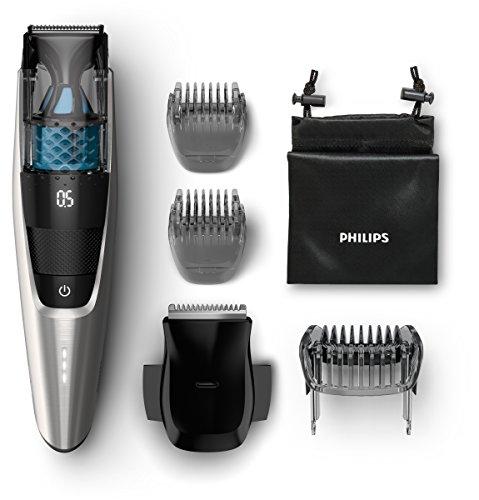 Philips Series 7000 Vakuum Bartschneider BT7220/15, schwarz / silber + Nasen und Ohrhaartrimmer NT5175/16