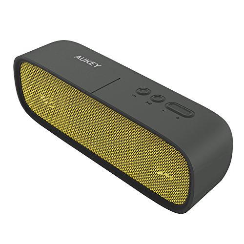 ( Amazon ) Aukey SK-M7 gelb/schwarz Lautsprecher Bluetooth 4.1 Tragbar 6W Wireless Speaker Wasserdicht mit Aux-In und Mikrofon