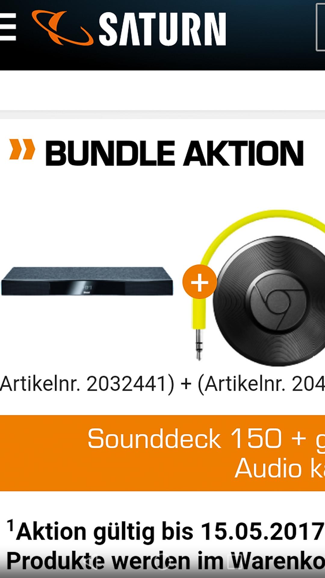 MAGNAT SOUNDDECK 150, SOUNDDECK, 200 WATT, BLUETOOTH, SCHWARZ  + Google chromecast audio gratis , saturn (abholung / 1,99 versand)