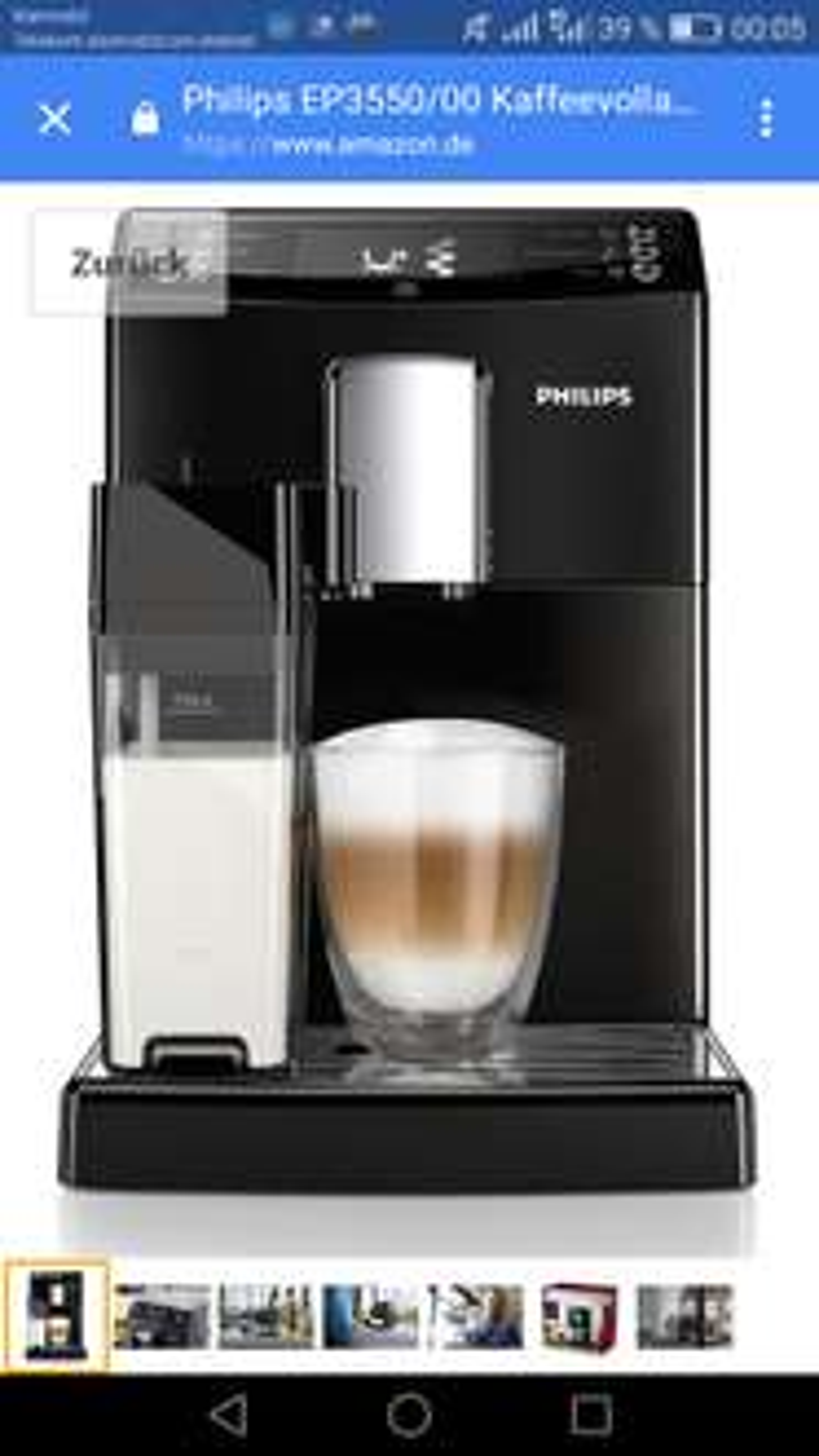 Philips EP3550/00 Kaffeevollautomat, Milchkaraffe, AquaClean, schwarz, amazon