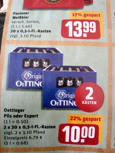 Rewe Malsch 2 Kästen Oettinger (Pils oder Export) für 10€