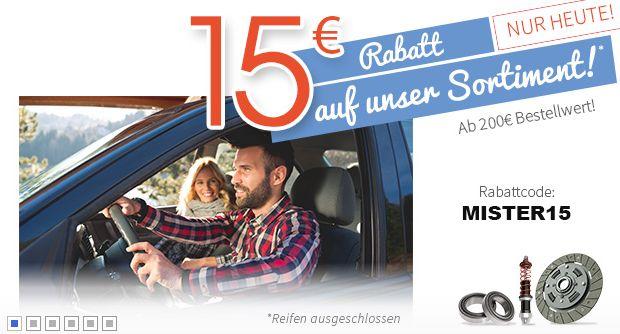 Mister-Auto.de (Autoteile): 15 EUR ab 200 EUR Bestellwert