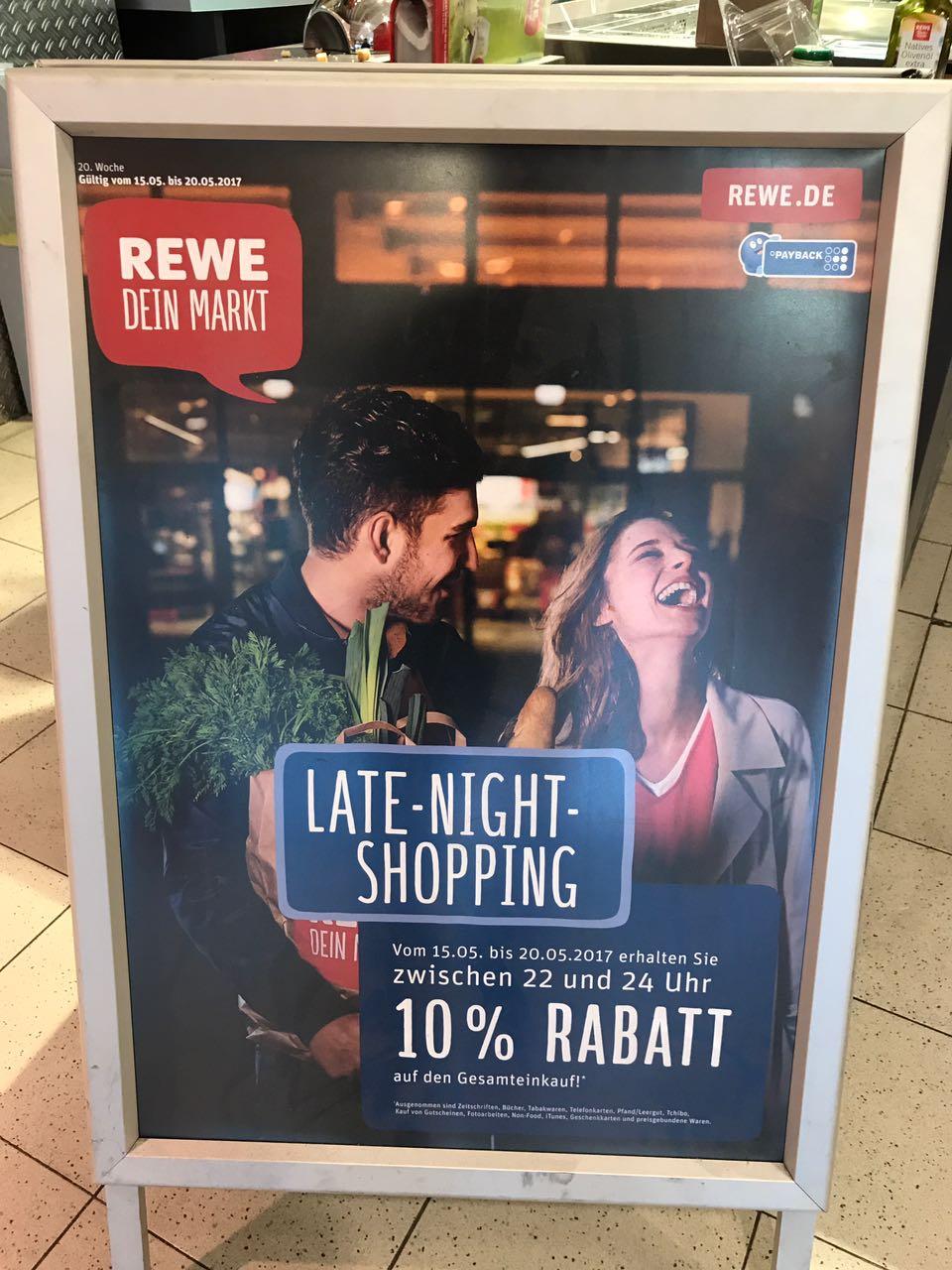 REWE Late-Night-Shopping 10% Rabatt auf den GESAMTEINKAUF