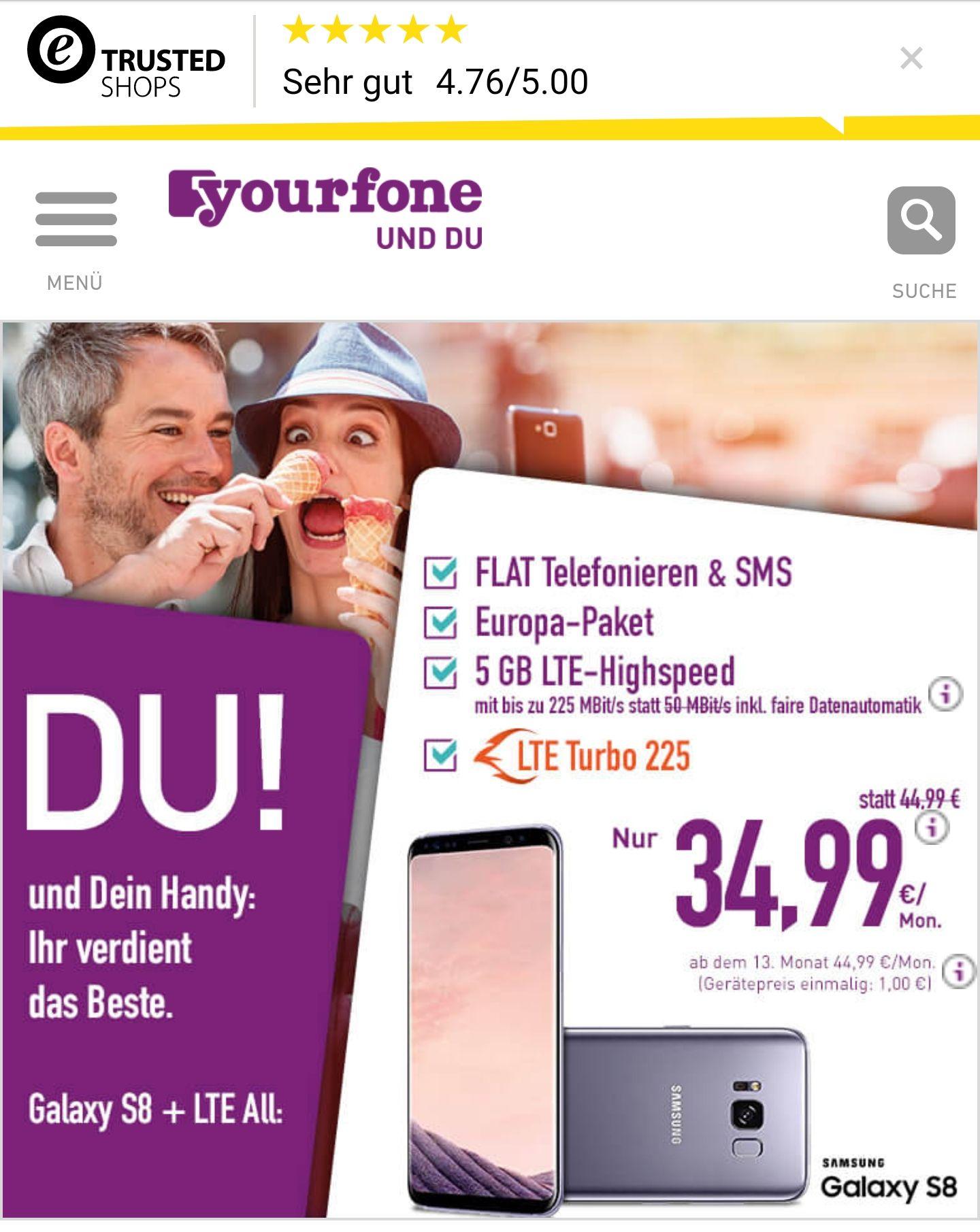 LTE All+Samsung Galaxy S8  1€ 6 GB LTE Turbo