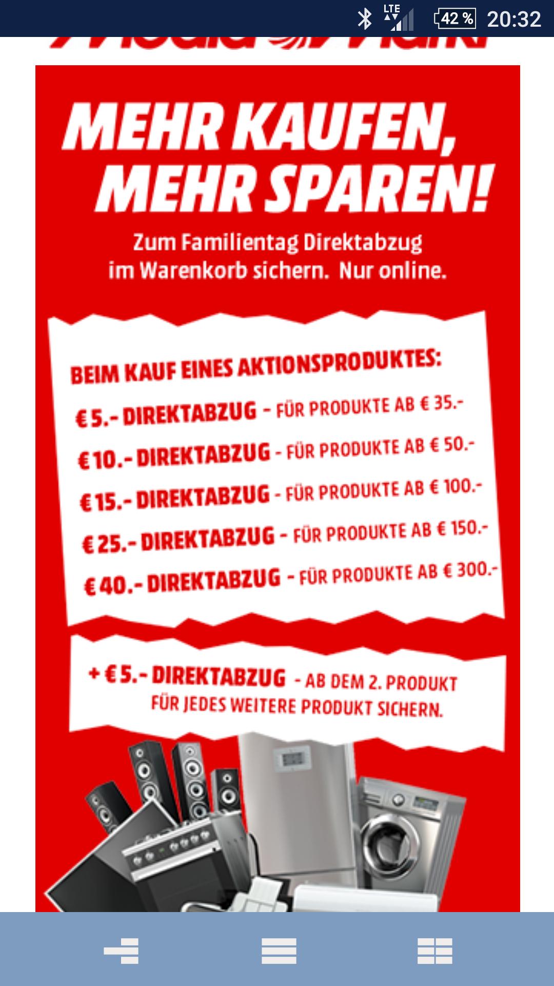 Mediamarkt Familientag Direktabzug 5-40€ auf Aktionprodukte