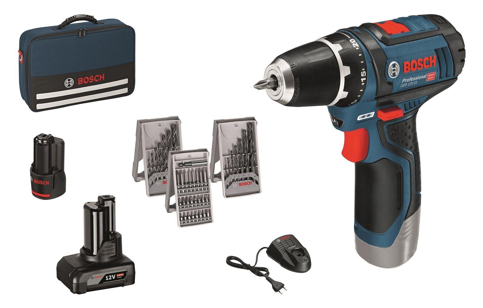 [eBay] BOSCH Akku-Bohrschrauber GSR 12V-15 /  10.8V-2-LI Professional mit 1 x 2,0 Ah & 1 x 4,0 Ah Akku ODER  2x 2,0 Ah & 1x4.0 Ah + 38-tlg. Zubehör-Set in Handwerkertasche (Metall-/Holzbohrer-Set, Schnellladegerät, Bit-Set)