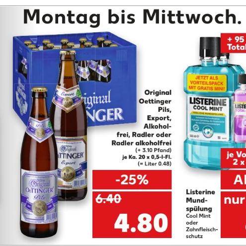 Kaufland Oettinger verschiedene Sorten 20 x 0,5 l Export,Alkoholfrei,Radler und Radler Alkoholfrei