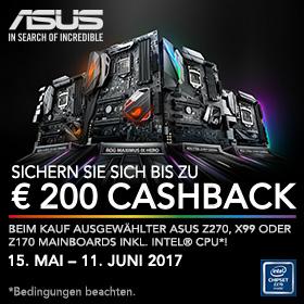 70€ bis 200€ Cashback beim Kauf ausgewählter Asus Mainboards + Intel Prozessoren