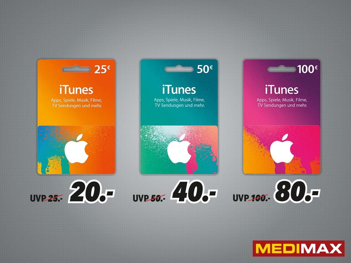 MEDIMAX iTunes Karten Rabatt 25€ für 20€/ 50€ für 40€ / 100€ für 80€ (DORTMUND)