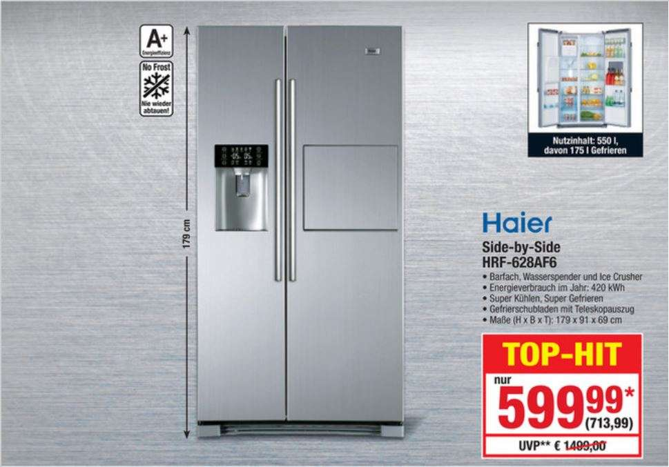 metro side by side k hlschrank haier hrf 628af6 mit. Black Bedroom Furniture Sets. Home Design Ideas