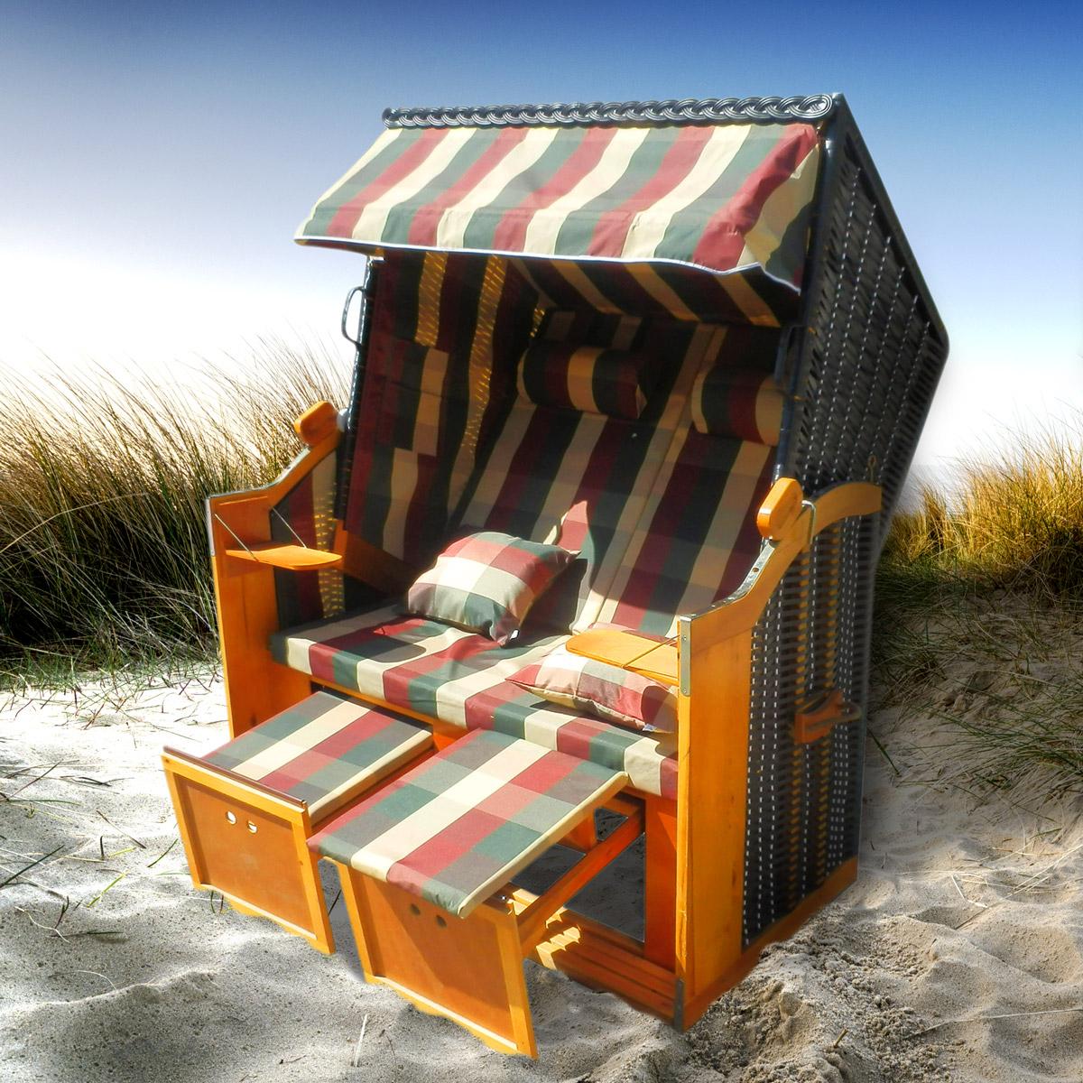 ebay 2 sitzer strandkorb ostsee deluxe f r 211 65 inkl abdeckhaube und kissen. Black Bedroom Furniture Sets. Home Design Ideas