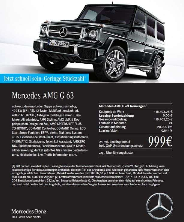 regional gewerbeleasing mercedes amg g63 999 netto. Black Bedroom Furniture Sets. Home Design Ideas