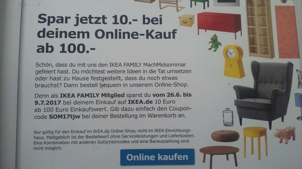 10euro gutschein 100mbw f r ikea family mitglieder. Black Bedroom Furniture Sets. Home Design Ideas