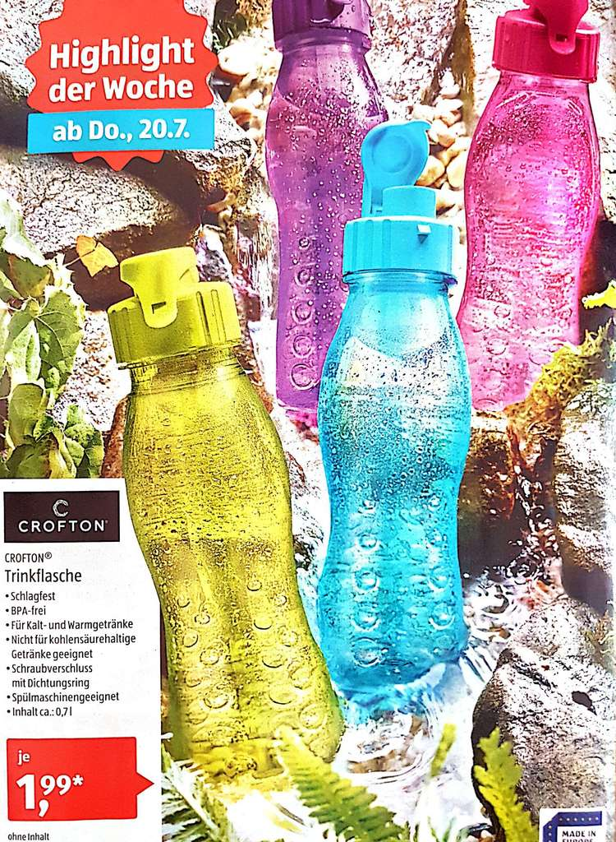 Aldi Süd] CROFTON Trinkflasche ab Do. 20.7 - mydealz.de