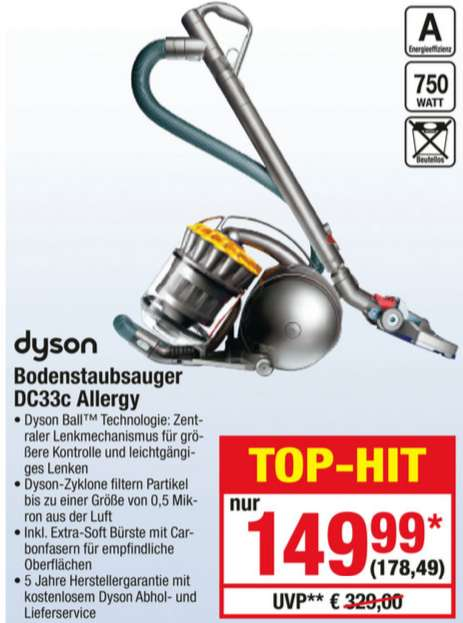 metro dyson staubsauger ohne beutel dc 33c allergy 750 w. Black Bedroom Furniture Sets. Home Design Ideas