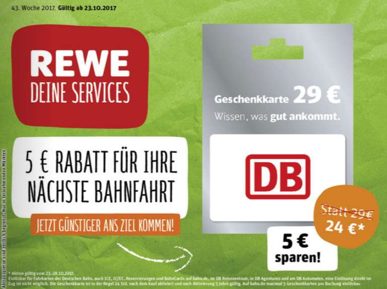 rewe toom db deutsche bahn 29 geschenkkarte f r 24 ab bis g ltig bis 2022. Black Bedroom Furniture Sets. Home Design Ideas