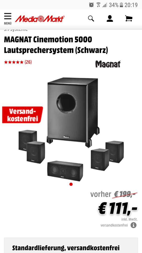 magnat cinemotion 5000 5 1 lautsprecher set. Black Bedroom Furniture Sets. Home Design Ideas