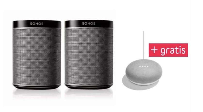 sonos play 1 doppelpack google home mini 280 euro f r. Black Bedroom Furniture Sets. Home Design Ideas