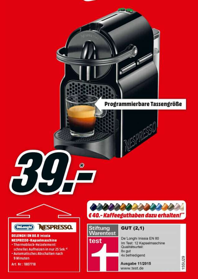 de 39 longhi nespresso inissia en 80 b schwarz 40 guthaben. Black Bedroom Furniture Sets. Home Design Ideas