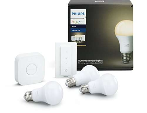 philips hue white e27 led lampe starter set mit drei lampen inkl bridge und dimmschalter f r 61. Black Bedroom Furniture Sets. Home Design Ideas