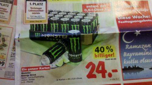 lokal kaufland neckarsulm ein karton 24stk monster energy f r 24. Black Bedroom Furniture Sets. Home Design Ideas
