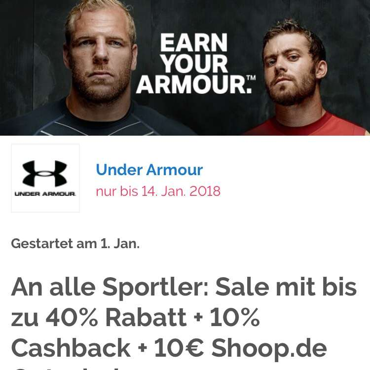 shoop under armour 10 cashback zus tzlich 10 gutschein. Black Bedroom Furniture Sets. Home Design Ideas