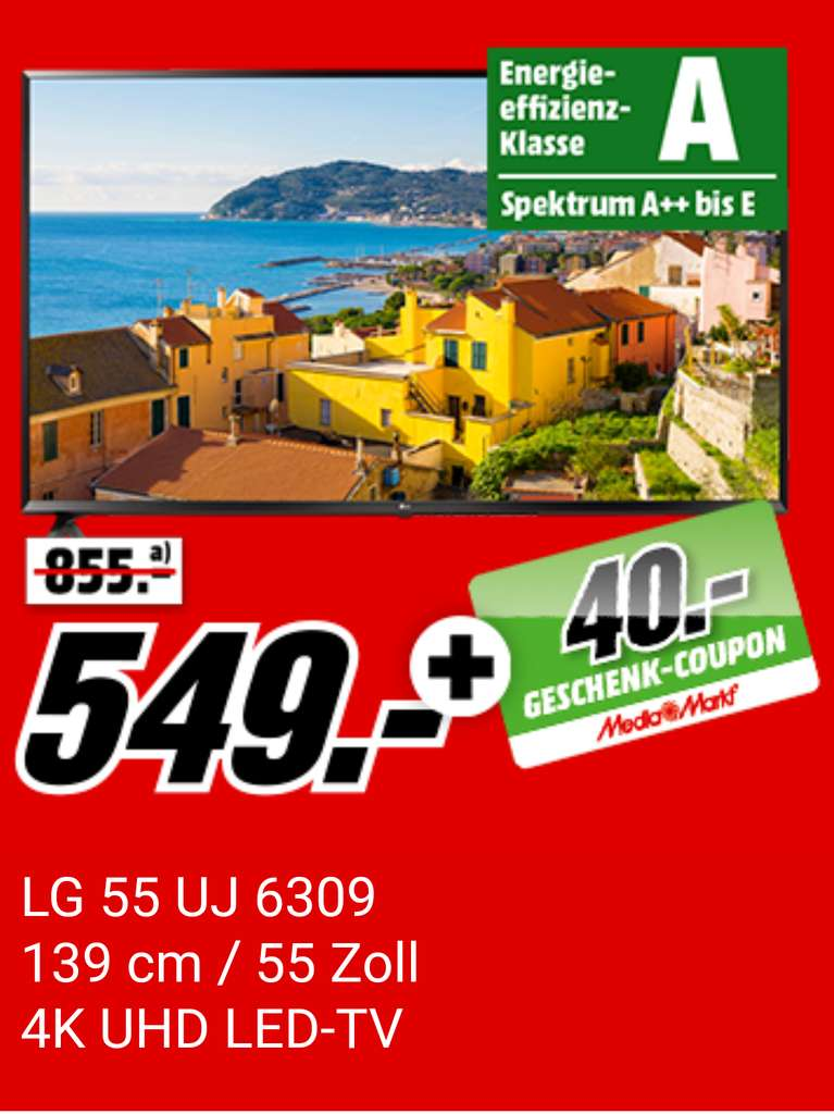 media markt lg 55uj6309 tv 55zoll 549 euro 40 euro coupon statt 679 euro. Black Bedroom Furniture Sets. Home Design Ideas