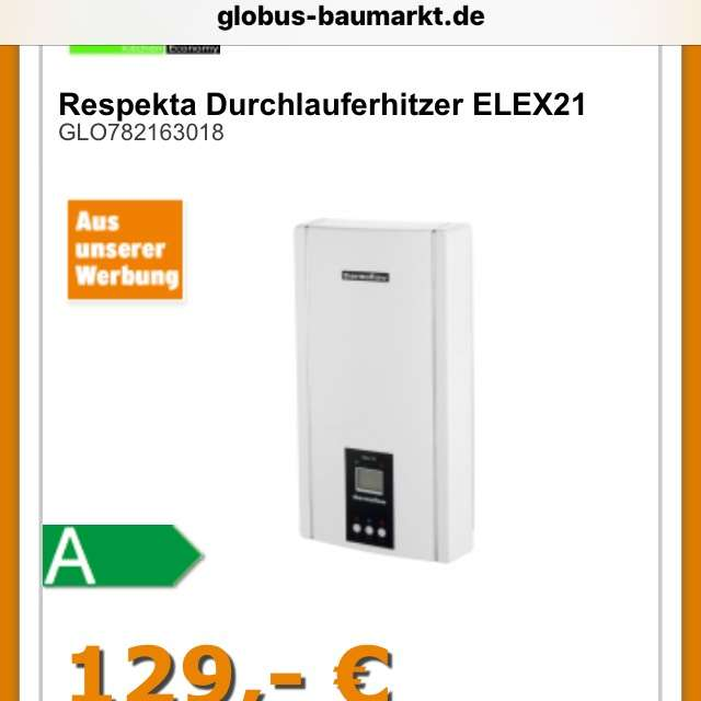 respekta durchlauferhitzer elex21 elektronisch 21 kw. Black Bedroom Furniture Sets. Home Design Ideas
