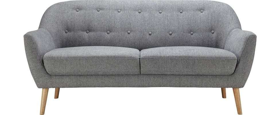 wieder da g nstiger sofa anela 2 sitzer grau mit holzf en. Black Bedroom Furniture Sets. Home Design Ideas
