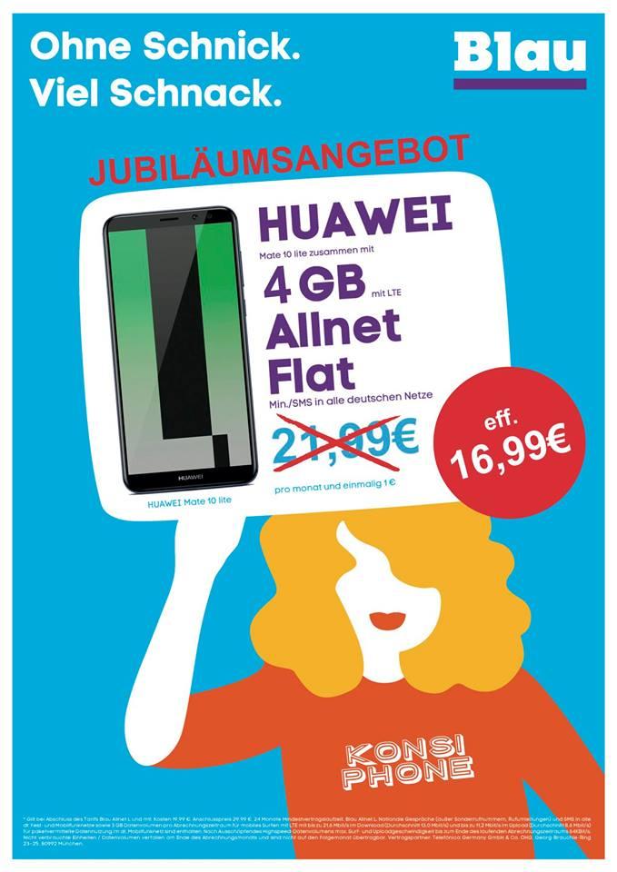 lokal pb huawei mate 10 lite inkl 4gb lte allnet flat sms flat eu roaming. Black Bedroom Furniture Sets. Home Design Ideas