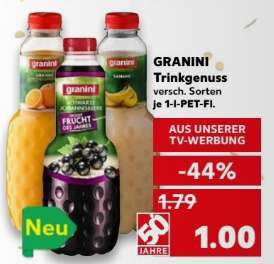 granini trinkgenuss schwarze johannisbeere 0 60 andere sorten nur 1 bei kaufland. Black Bedroom Furniture Sets. Home Design Ideas