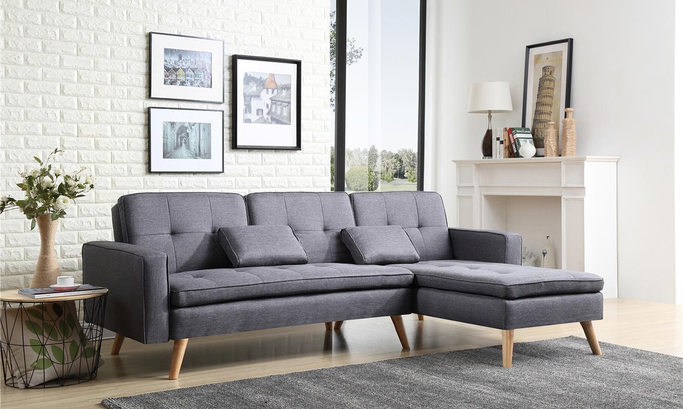 bobochic ecksofa nora mit schlaffunktion und chaise lounge in hell oder dunkelgrau groupon. Black Bedroom Furniture Sets. Home Design Ideas