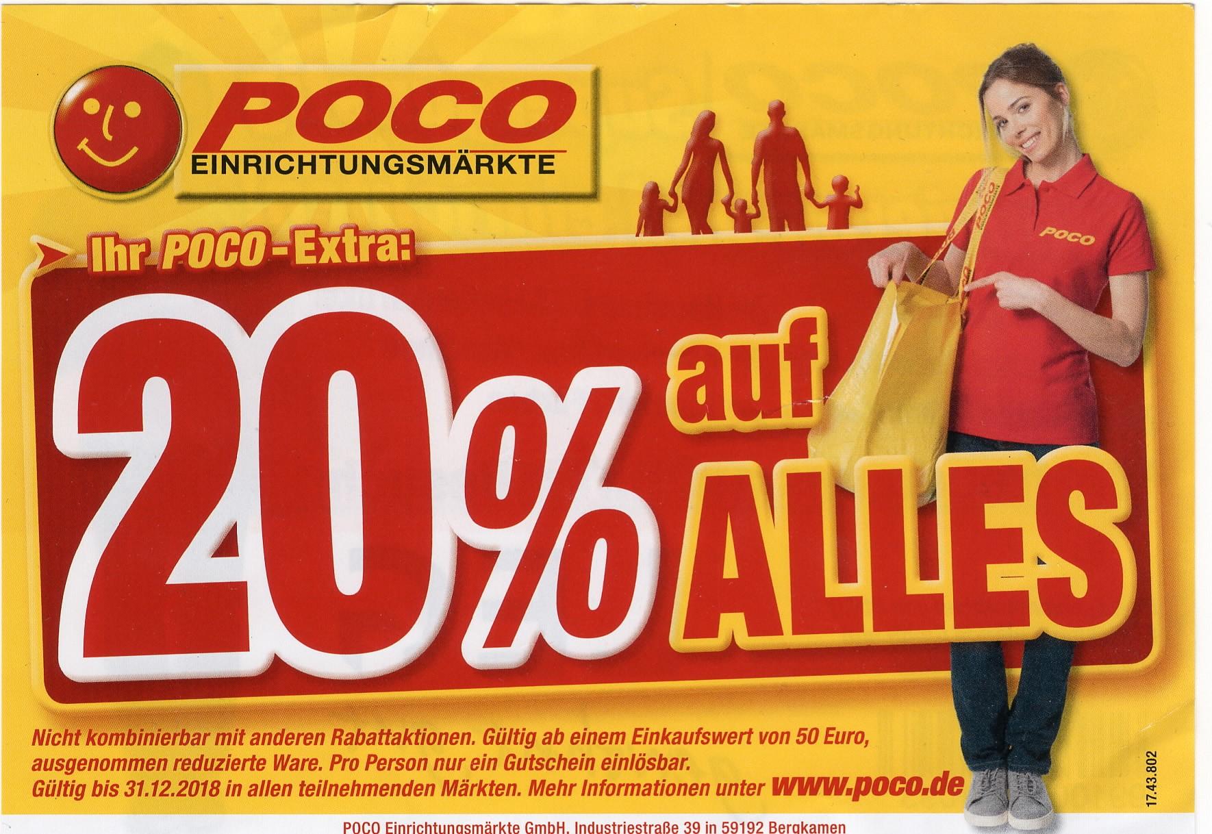 Bis Ende 2018 Gültig 20 Bei Poco Einrichtungsmärkten Ab 50 Euro