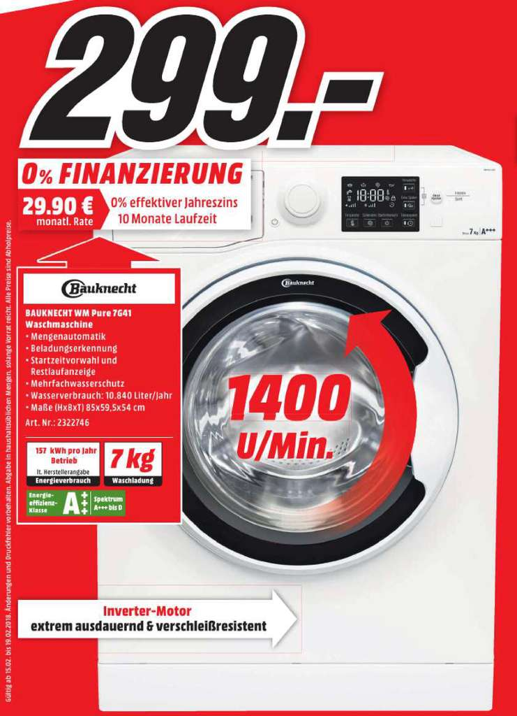 lokal media markt berlin brandenburg bauknecht wm pure 7g41 waschmaschine. Black Bedroom Furniture Sets. Home Design Ideas