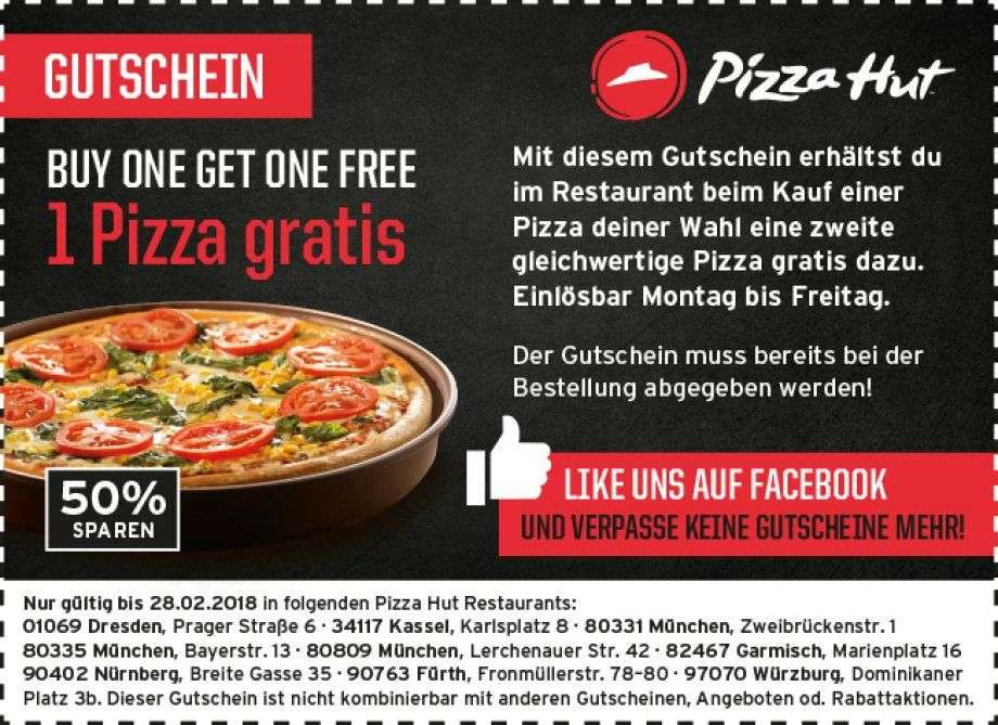 pizzahut eine pizza gratis bei kauf einer pizza lokal ausgew hlte restaurants. Black Bedroom Furniture Sets. Home Design Ideas