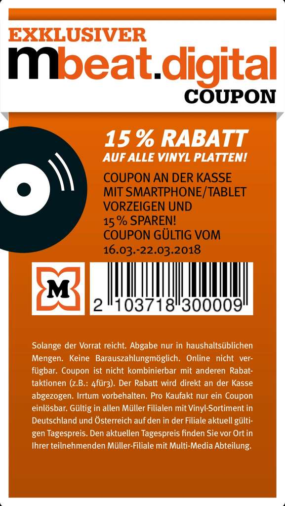 15% Rabatt auf alle Vinyl Platten @ Müller (Drogeriemarkt) - mydealz.de