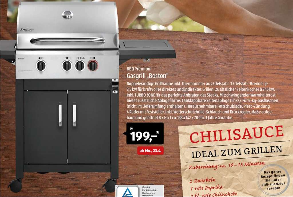 Enders Gasgrill Kansas Black Pro 3 K Turbo : Aldi sÜd ab 23.04.2018 enders boston gasgrill bbq premium mydealz.de