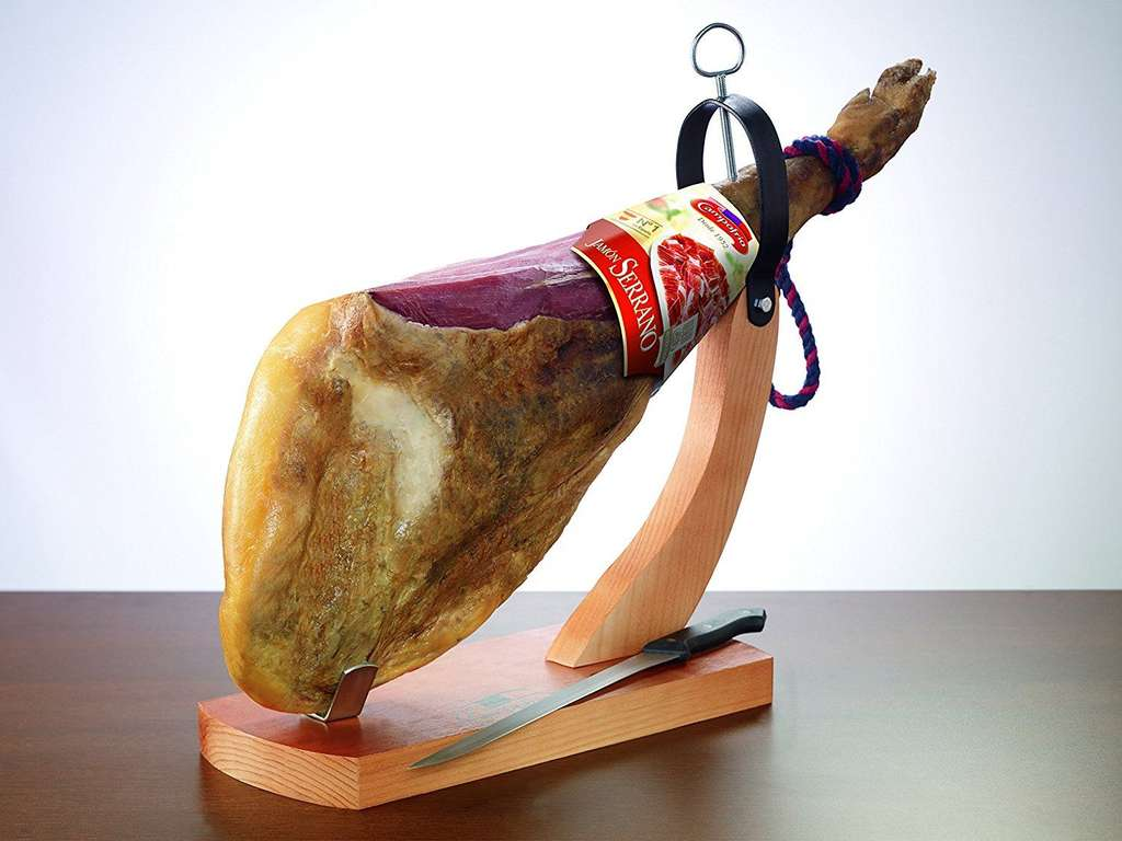 jamon serrano 7kg schinkenkeule mit bock und messer. Black Bedroom Furniture Sets. Home Design Ideas