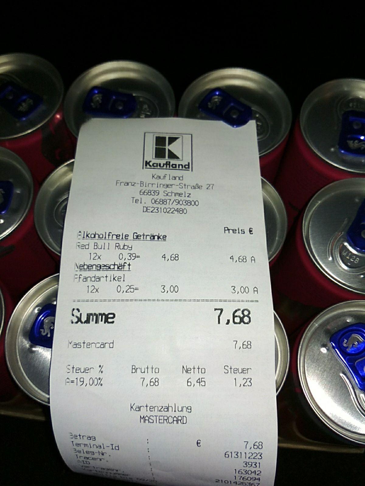 Lokal?] Red Bull Summer / Ruby 0,39€ @ Kaufland Schmelz (MHD 19.04 ...