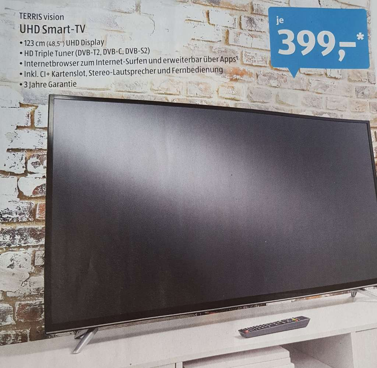 aldi s d terris vision uhd smart tv 48 5 zoll. Black Bedroom Furniture Sets. Home Design Ideas