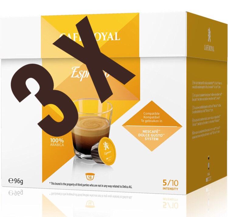 amazon prime caf royal espresso 48 kompatible kapseln f r dolce gusto 3er pack 16. Black Bedroom Furniture Sets. Home Design Ideas