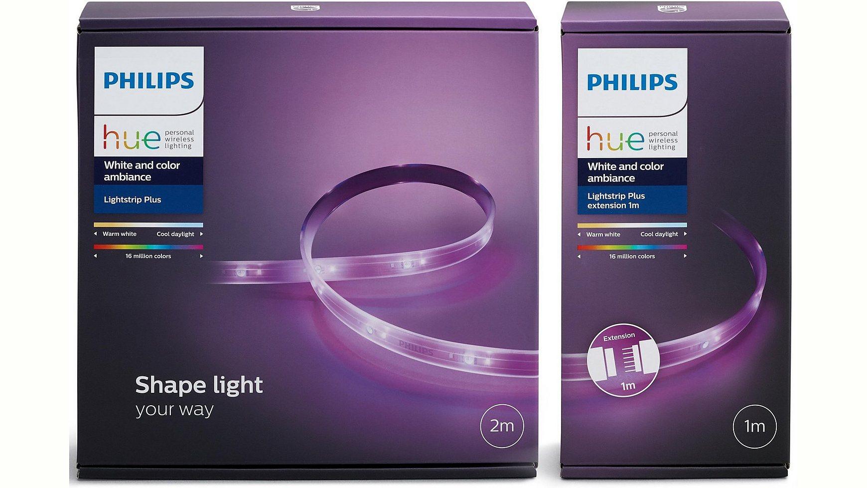 philips hue lightstrip plus 2m 1m erweiterung. Black Bedroom Furniture Sets. Home Design Ideas