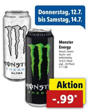 lidl monster energy drink 0 5l versch sorten 99 cent. Black Bedroom Furniture Sets. Home Design Ideas