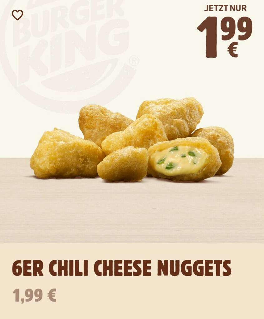 Chilli Cheese Nuggets Burger King Oder Chilli-Cheese Fries