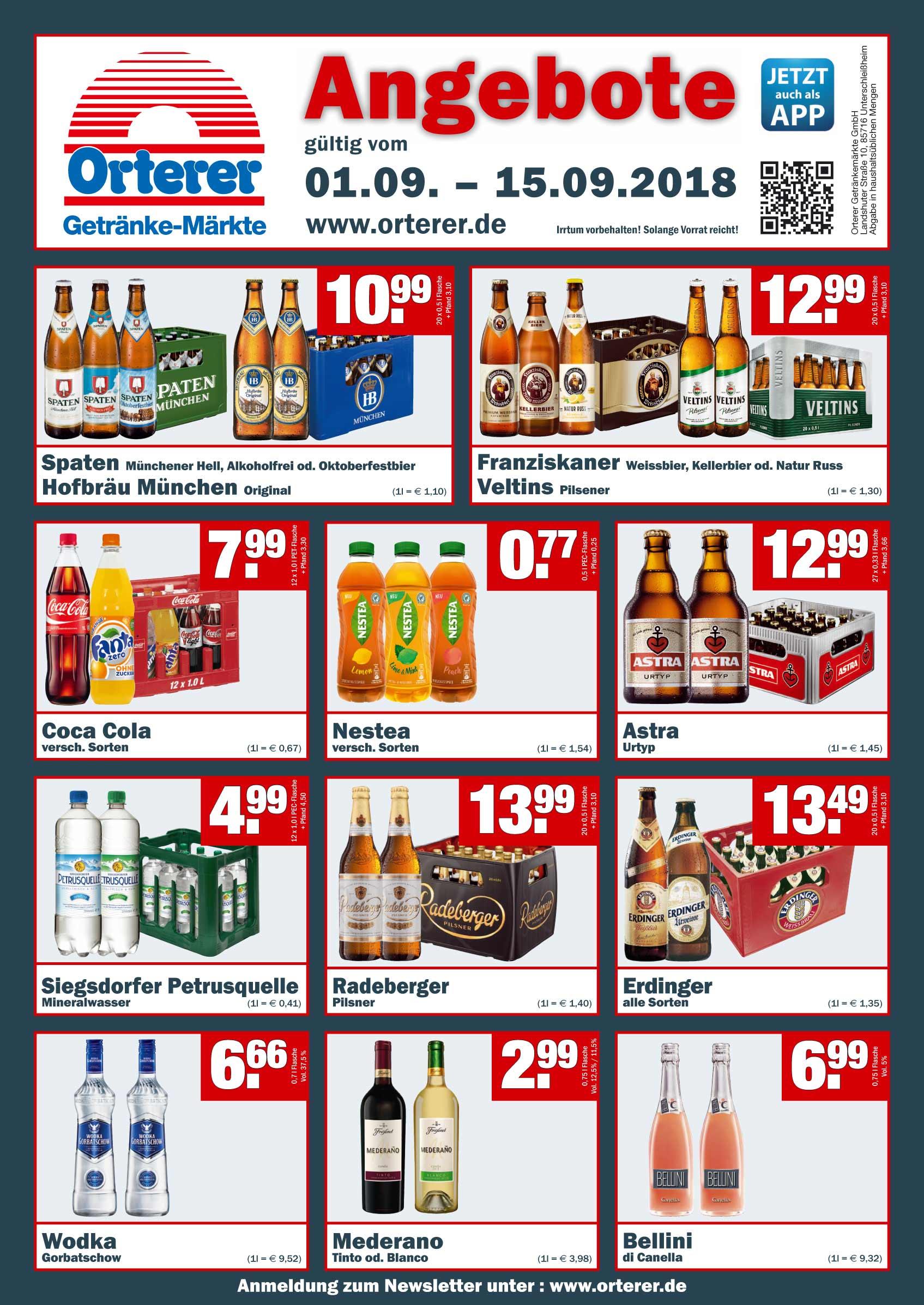 lokal Oberbayern - Orterer Getränkemärkte ] Coca Cola 12x1,0l Kasten ...